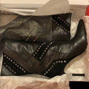 Guess black leather studded boots